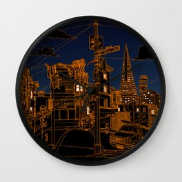 San Francisco! (Night, landscape version) Wall Clock