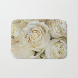 White Roses and White Diamonds Bath Mat