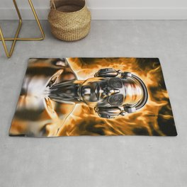 Disco god portrait / 3D render of silver male figure with headphones and disco shades engulfed in fl Rug