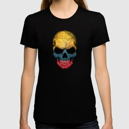 Dark Skull with Flag of Colombia T-shirt