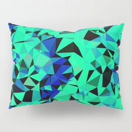 geometric triangle pattern abstract in green blue black Pillow Sham