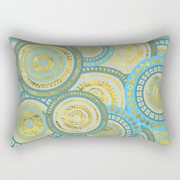 Circular Ethnic  pattern pastel gold blue and teal Rectangular Pillow