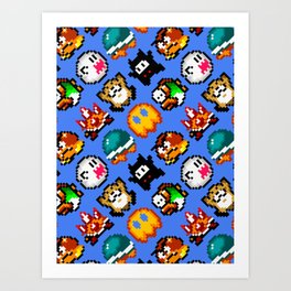 Super Mario World | Enemies Pattern Art Print