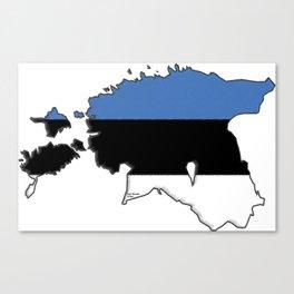 Estonia Map with Estonian Flag Canvas Print