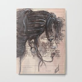 Handwritten letter with portrait Metal Print