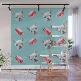 French Bulldog and macaroon pattern (Raspberry) Wall Mural