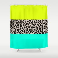 the national Shower Curtains featuring Leopard National Flag XI by M Studio