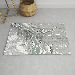 Portland, OR City Map Black/White Rug