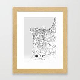 Beirut, Lebanon - Light Map Framed Art Print