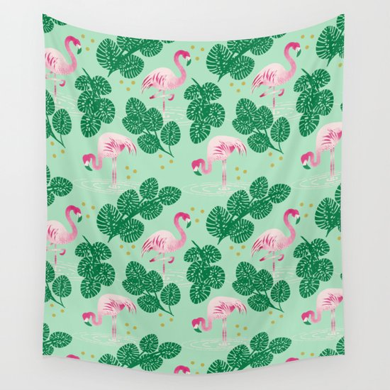 Flamingo Friends Wall Tapestry