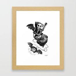 Little Grim Reaper Playing A Guitar Framed Art Print
