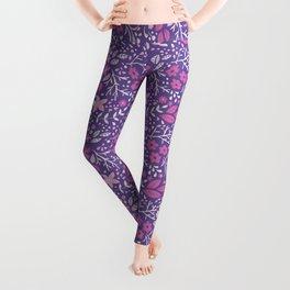 Floral doodles in pink and violet Leggings