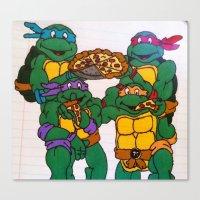 ninja turtles Canvas Prints featuring Ninja Turtles by Hannah Bolotin