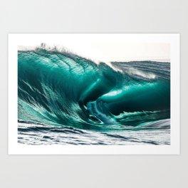 Crystal Clear High Surf - Scarborough Beach, Narragansett, Rhode Island Art Print