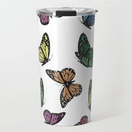 Multi Colored Butterfly Pattern Travel Mug