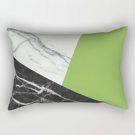 Black and white marble with pantone greenery Rectangular Pillow