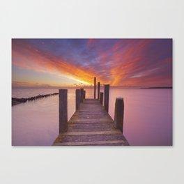 II - Seaside jetty at sunrise on Texel island, The Netherlands Canvas Print