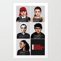 Banned Books Mugshots (Black) Art Print