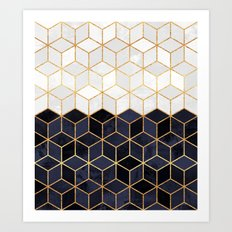 White & Navy Cubes Art Print