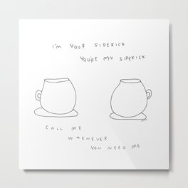 Best Friends Coffee Cups -  kitchen illustration cafe latte family Metal Print