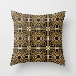 Art Deco Floral Tiles in Browns and Faux Gold Throw Pillow