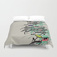 arabic Duvet Covers featuring Arabic Typography by Fatendesigns
