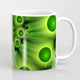 Green Fractal, Modern Spiral With Depth Coffee Mug