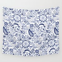 folk Wall Tapestries featuring Folk Floral Indigo by Jacqueline Maldonado
