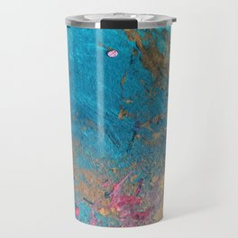 Coral Reef [2]: colorful abstract in blue, teal, gold, and pink Travel Mug