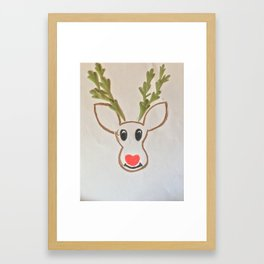 Awwdorable reindeer Framed Art Print