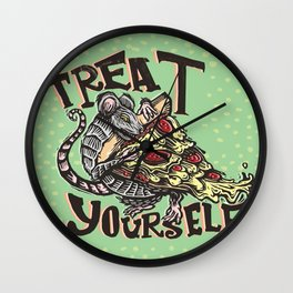 Treat Yourself Pizza Rat Wall Clock