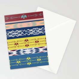 Oceanview Trim Red White Blue Ikat and Fish motif Stationery Cards