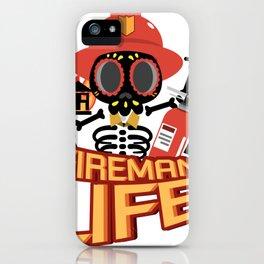 Fireman Firefighter Funny Life Skeleton Halloween iPhone Case