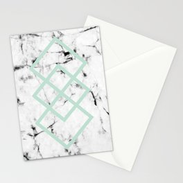 White Marble Concrete Look Mint Green Geometric Squares Stationery Cards