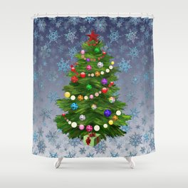Christmas tree & snow v.2 Shower Curtain