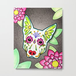 German Shepherd in White - Day of the Dead Sugar Skull Dog Metal Print
