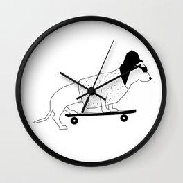 Dog on Skateboard Wall Clock