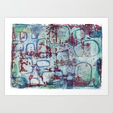 Pattern - Blue Red Square Art Print