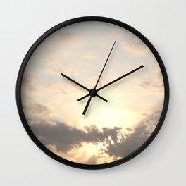 Wanderlust travel pastel dusk dawn horizon sky light clouds whimsical hipster nature photograph Wall Clock