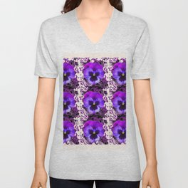 GARDEN ROWS OF PURPLE PANSY FLOWERS PATTERNS Unisex V-Neck