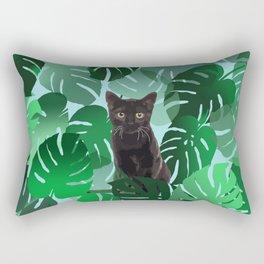 Black Cat Monstera Jungle leaves Rectangular Pillow