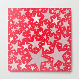 Dazzling Stars - Red and Silver Metal Print