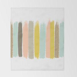 Madison - Brushstroke art print in modern colors bright and happy gifts for trendy girls Throw Blanket