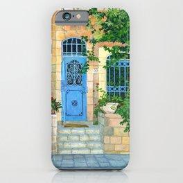 Blue door Jerusalem Acrylic on board iPhone Case