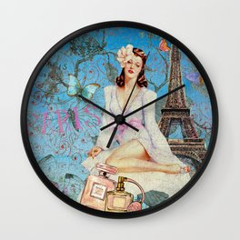 Paris - mon amour - Fashion Girl In France Eiffel tower Nostalgy - French Vintage Wall Clock