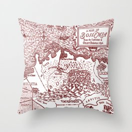 Map of Bohemia (red) Throw Pillow