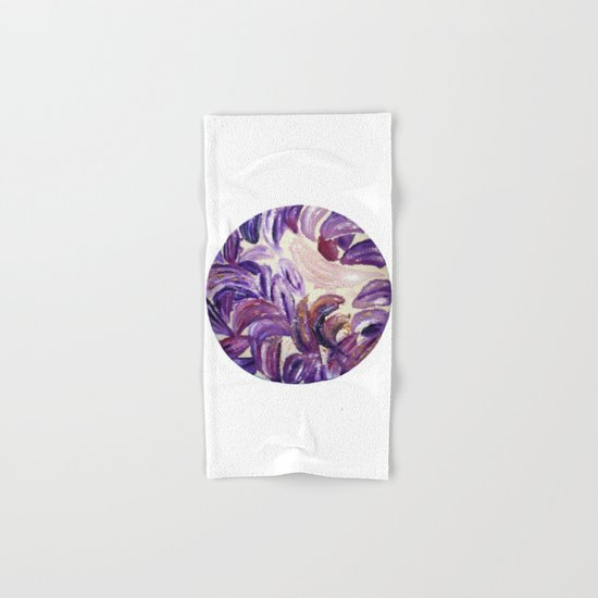 Purple Leaves with Gold Flakes Hand & Bath Towel