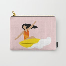 Girl surfing on a yellow board Carry-All Pouch