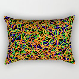Random colored tangled ropes and gold lines. Rectangular Pillow