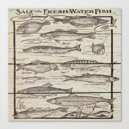 father's day fisherman gifts whitewashed wood lakehouse freshwater fish Canvas Print